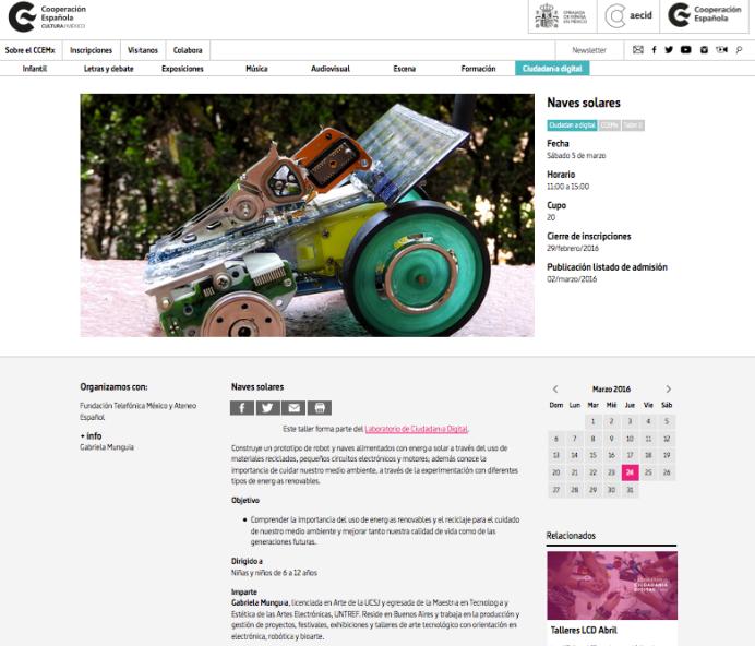 Taller de Naves Solares en el Laboratorio de Ciudadanía Digital del Centro Cultural España Mx